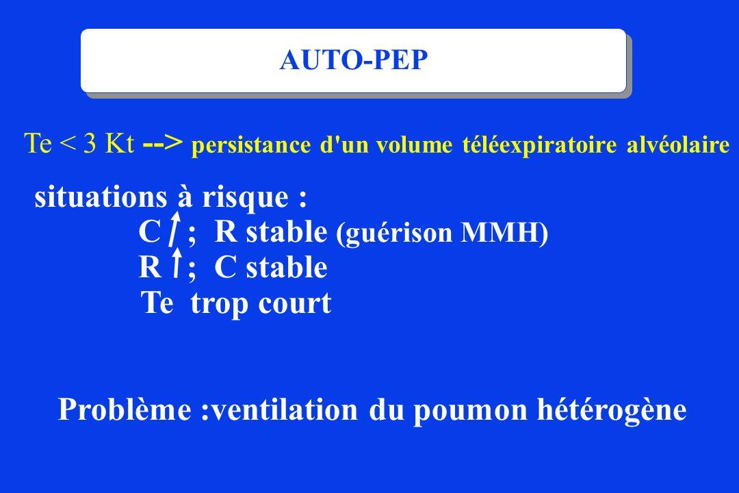 situations à risque : C ; R stable (guérison MMH) R ; C stable Te trop court Problème :ventilation du poumon hétérogène Te persistance d'un volume tél