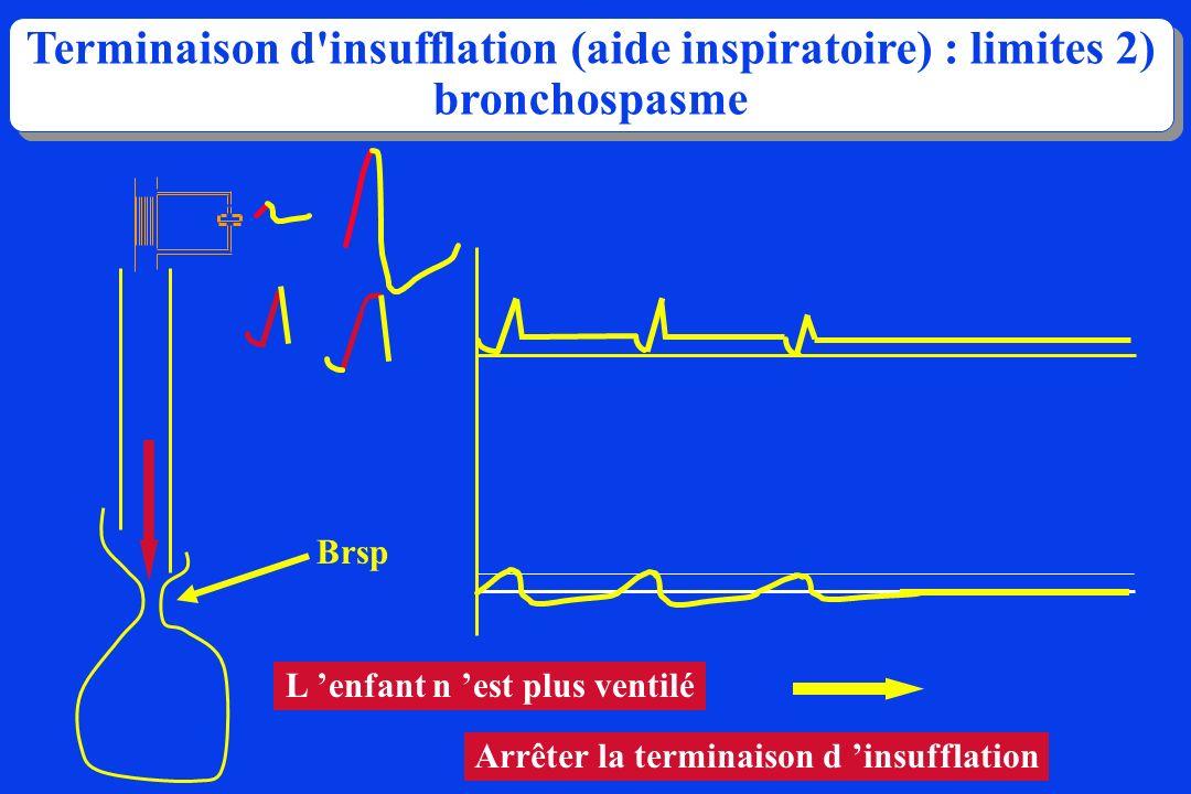 Terminaison d'insufflation (aide inspiratoire) : limites 2) bronchospasme L enfant n est plus ventilé Arrêter la terminaison d insufflation Brsp
