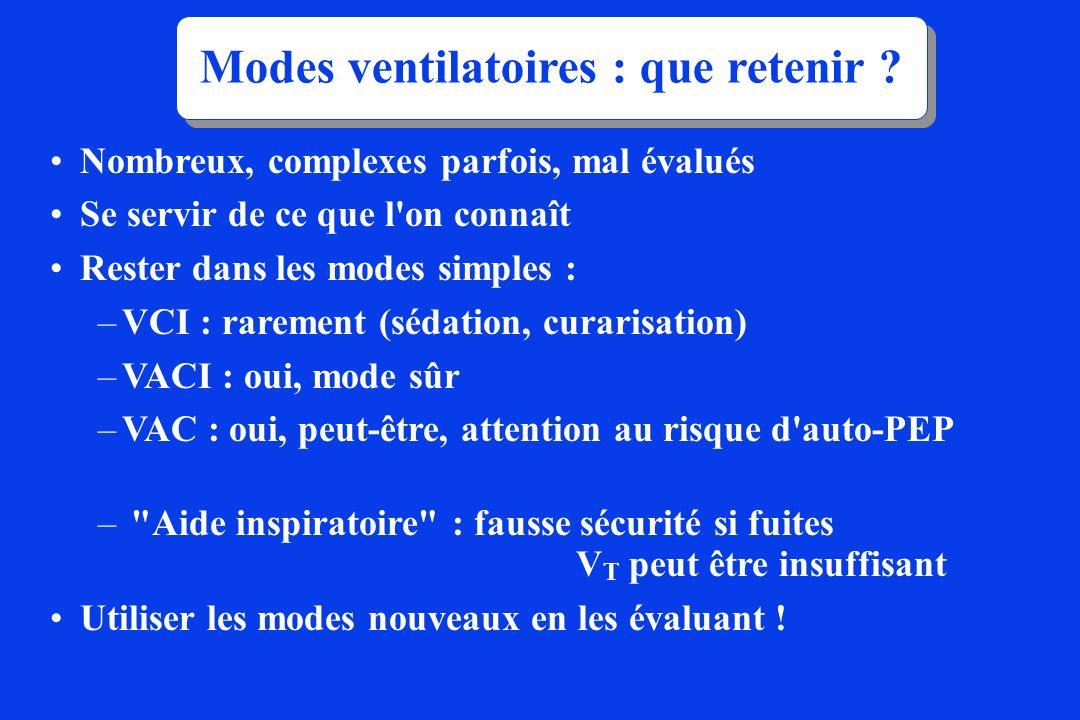 Nombreux, complexes parfois, mal évalués Se servir de ce que l'on connaît Rester dans les modes simples : –VCI : rarement (sédation, curarisation) –VA