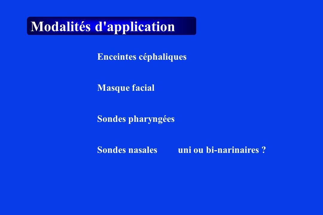 Modalités d'application Masque facial Sondes pharyngées Enceintes céphaliques Sondes nasalesuni ou bi-narinaires ?