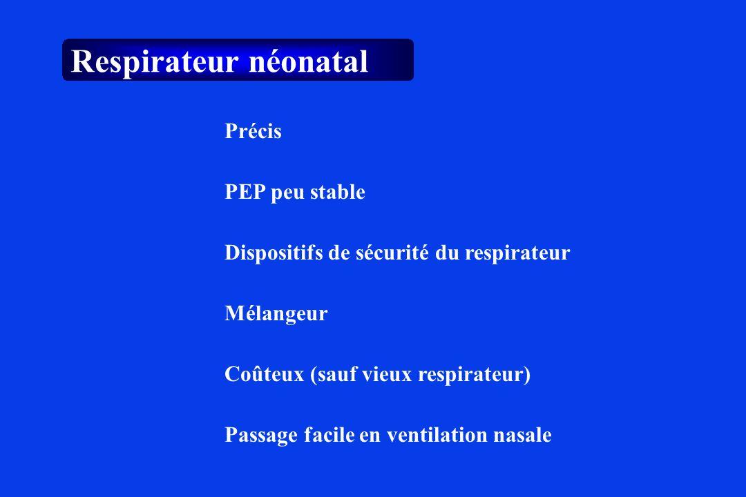 Respirateur néonatal Précis PEP peu stable Mélangeur Dispositifs de sécurité du respirateur Coûteux (sauf vieux respirateur) Passage facile en ventila