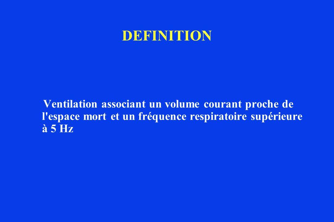 DEFINITION Ventilation associant un volume courant proche de l'espace mort et un fréquence respiratoire supérieure à 5 Hz