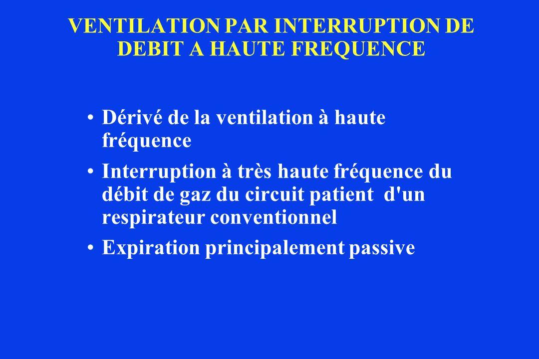 VENTILATION PAR INTERRUPTION DE DEBIT A HAUTE FREQUENCE Dérivé de la ventilation à haute fréquence Interruption à très haute fréquence du débit de gaz