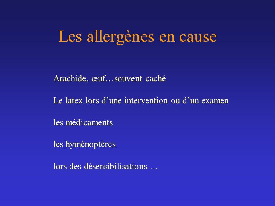 Les allergènes en cause Arachide, œuf…souvent caché Le latex lors dune intervention ou dun examen les médicaments les hyménoptères lors des désensibil