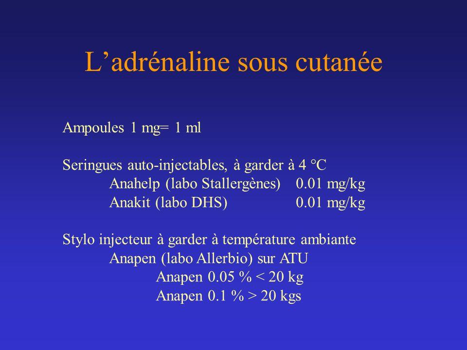 Ladrénaline sous cutanée Ampoules 1 mg= 1 ml Seringues auto-injectables, à garder à 4 °C Anahelp (labo Stallergènes) 0.01 mg/kg Anakit (labo DHS)0.01