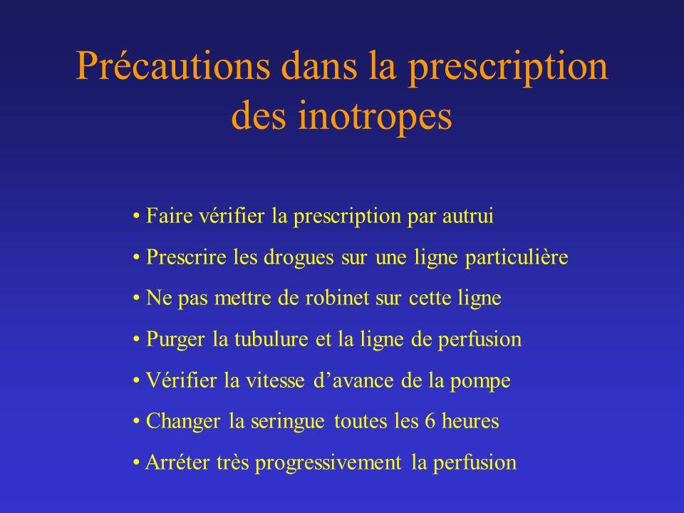 Précautions dans la prescription des inotropes Faire vérifier la prescription par autrui Prescrire les drogues sur une ligne particulière Ne pas mettr