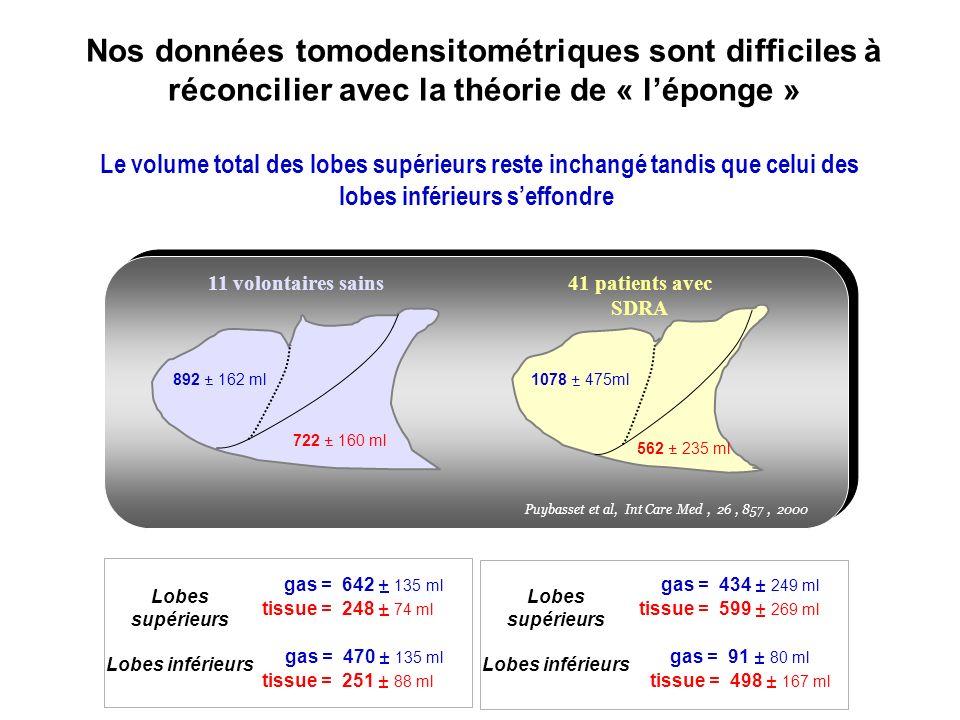 Nos données tomodensitométriques sont difficiles à réconcilier avec la théorie de « léponge » Le volume total des lobes supérieurs reste inchangé tand