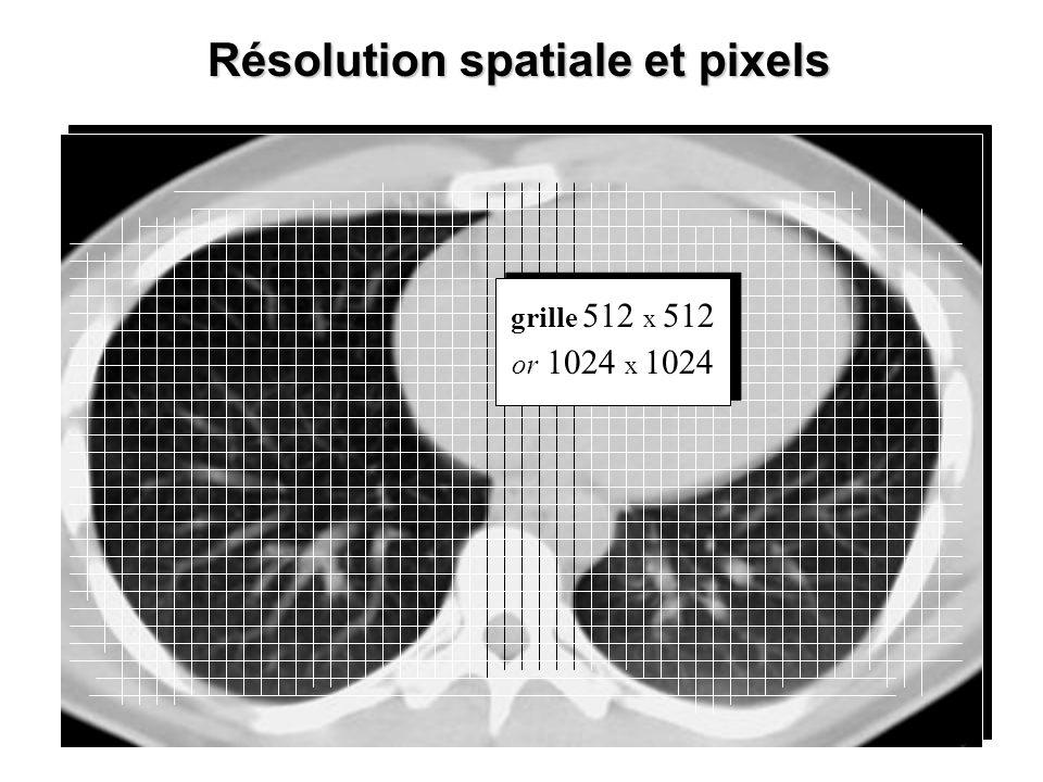 Résolution spatiale et pixels grille 512 x 512 or 1024 x 1024 grille 512 x 512 or 1024 x 1024