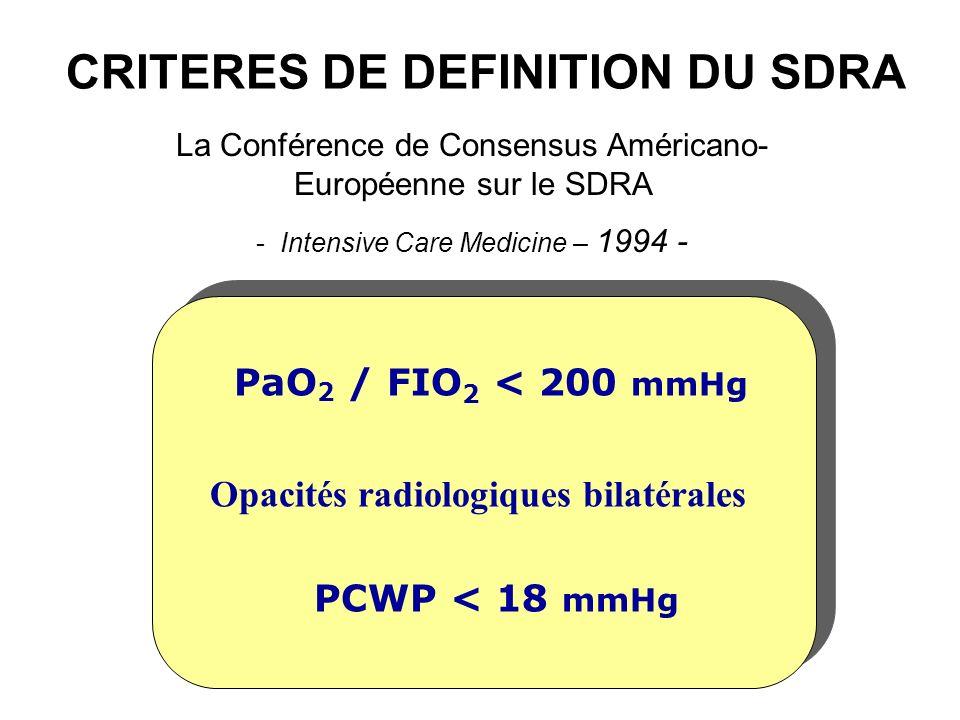 CRITERES DE DEFINITION DU SDRA La Conférence de Consensus Américano- Européenne sur le SDRA - Intensive Care Medicine – 1994 - PaO 2 / FIO 2 < 200 mmH