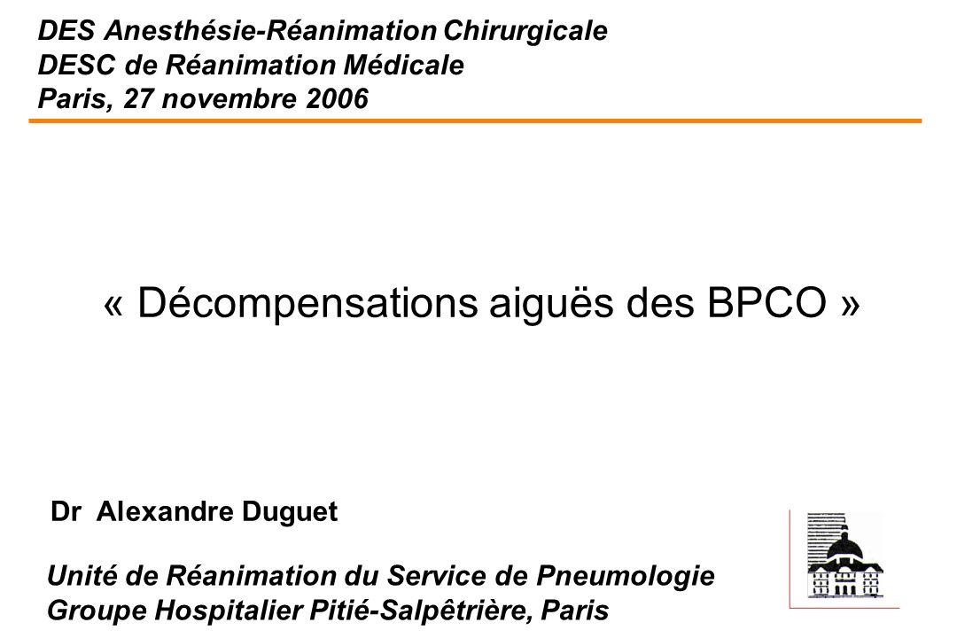 DES Anesthésie-Réanimation Chirurgicale DESC de Réanimation Médicale Paris, 27 novembre 2006 « Décompensations aiguës des BPCO » Unité de Réanimation