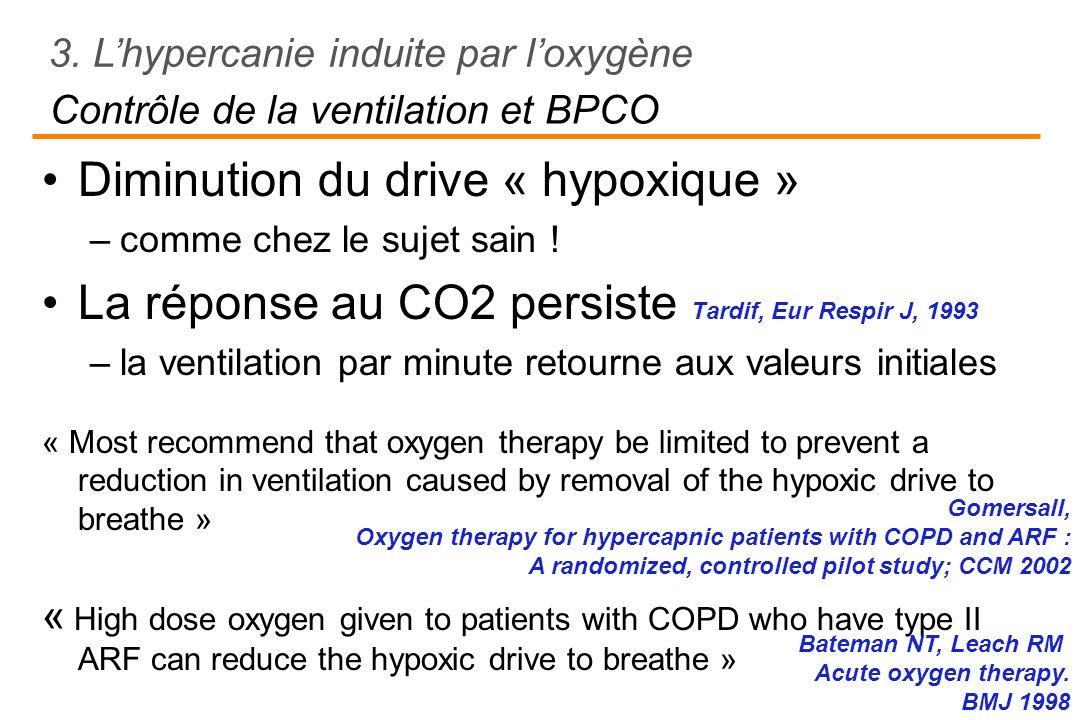 Contrôle de la ventilation et BPCO Diminution du drive « hypoxique » –comme chez le sujet sain ! La réponse au CO2 persiste Tardif, Eur Respir J, 1993