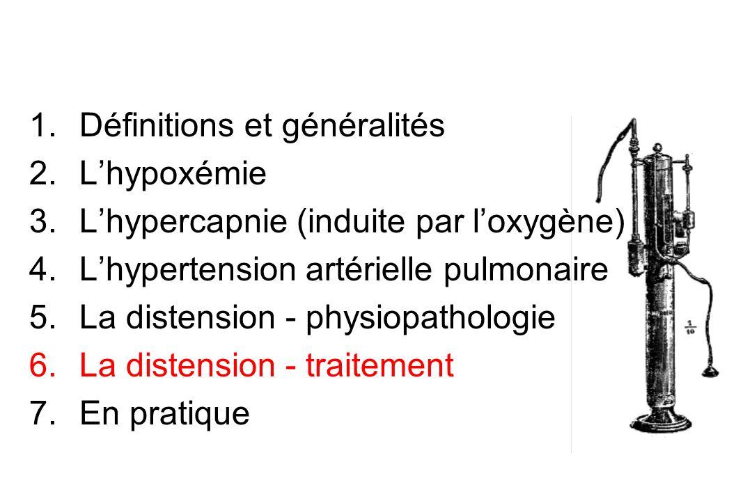 1.Définitions et généralités 2.Lhypoxémie 3.Lhypercapnie (induite par loxygène) 4.Lhypertension artérielle pulmonaire 5.La distension - physiopatholog