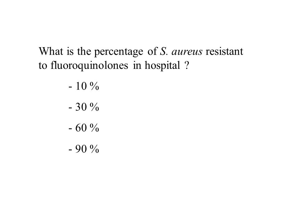 What is the percentage of S. aureus resistant to fluoroquinolones in hospital ? - 10 % - 30 % - 60 % - 90 %