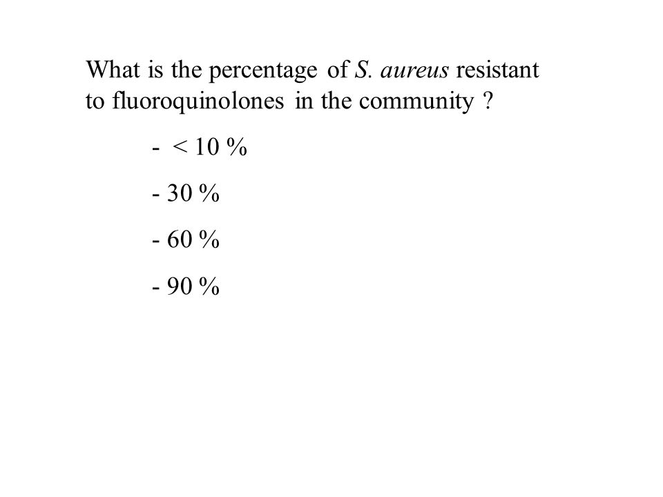 What is the percentage of S. aureus resistant to fluoroquinolones in the community ? - < 10 % - 30 % - 60 % - 90 %