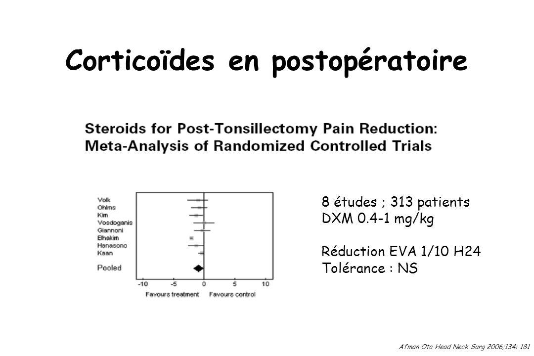 Corticoïdes en postopératoire Afman Oto Head Neck Surg 2006;134: 181 8 études ; 313 patients DXM 0.4-1 mg/kg Réduction EVA 1/10 H24 Tolérance : NS