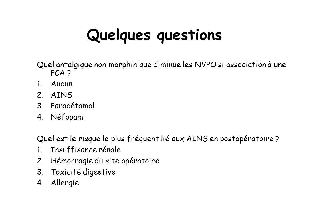 Quelques questions Quel antalgique non morphinique diminue les NVPO si association à une PCA ? 1.Aucun 2.AINS 3.Paracétamol 4.Néfopam Quel est le risq