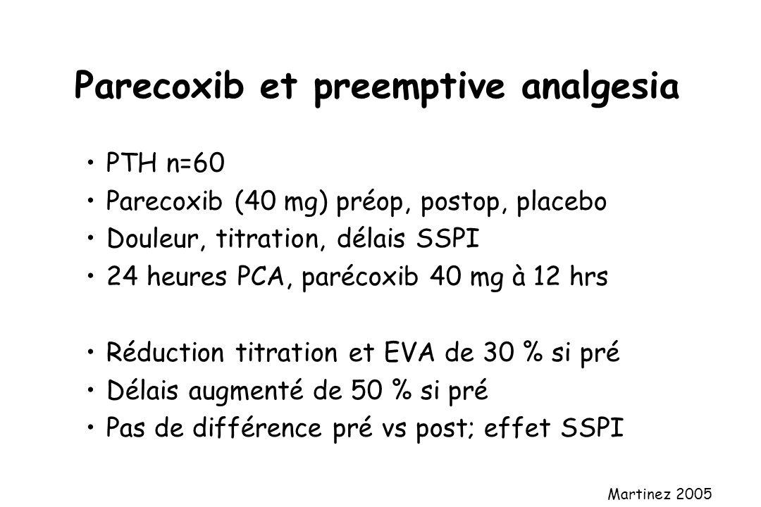 Parecoxib et preemptive analgesia PTH n=60 Parecoxib (40 mg) préop, postop, placebo Douleur, titration, délais SSPI 24 heures PCA, parécoxib 40 mg à 1