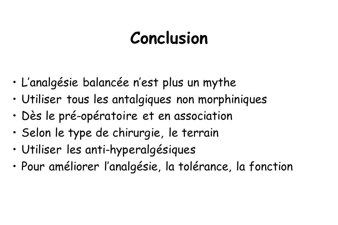Conclusion Lanalgésie balancée nest plus un mythe Utiliser tous les antalgiques non morphiniques Dès le pré-opératoire et en association Selon le type