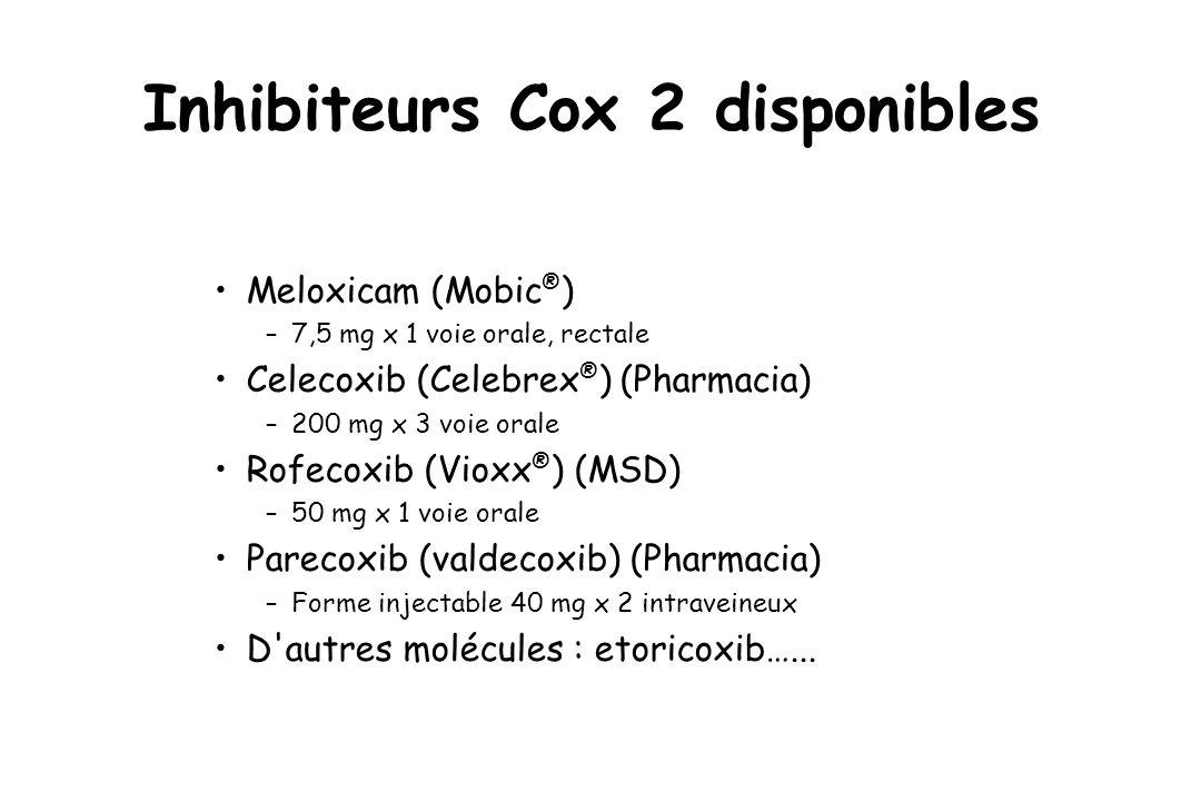Inhibiteurs Cox 2 disponibles Meloxicam (Mobic ® ) –7,5 mg x 1 voie orale, rectale Celecoxib (Celebrex ® ) (Pharmacia) –200 mg x 3 voie orale Rofecoxi