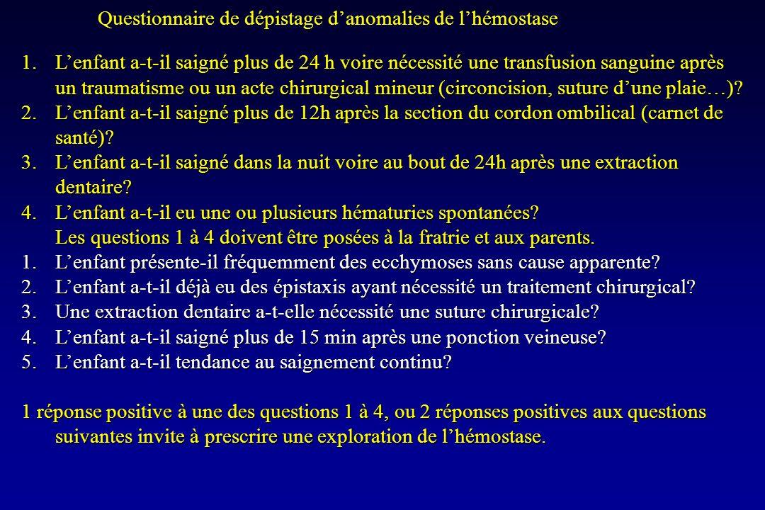 Questionnaire de dépistage danomalies de lhémostase 1.Lenfant a-t-il saigné plus de 24 h voire nécessité une transfusion sanguine après un traumatisme