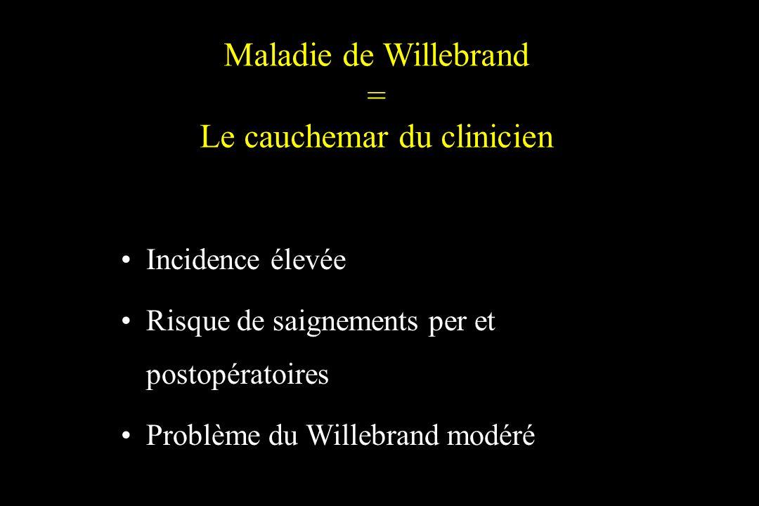 Maladie de Willebrand = Le cauchemar du clinicien Incidence élevée Risque de saignements per et postopératoires Problème du Willebrand modéré