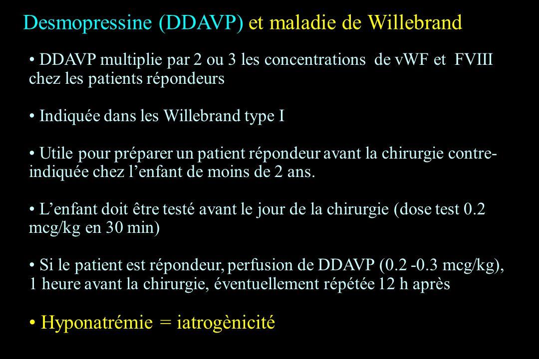 Desmopressine (DDAVP) et maladie de Willebrand DDAVP multiplie par 2 ou 3 les concentrations de vWF et FVIII chez les patients répondeurs Indiquée dan
