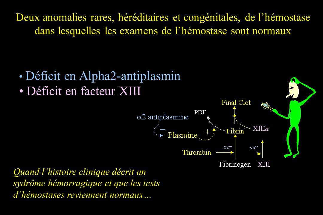 Deux anomalies rares, héréditaires et congénitales, de lhémostase dans lesquelles les examens de lhémostase sont normaux Déficit en Alpha2-antiplasmin