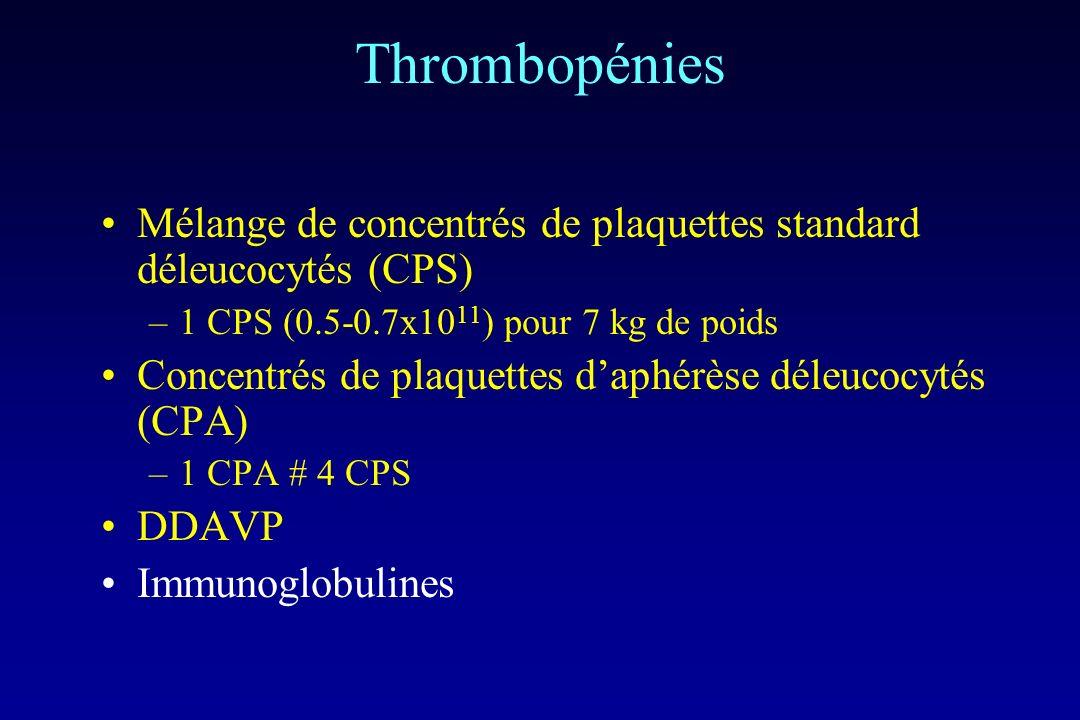 Thrombopénies Mélange de concentrés de plaquettes standard déleucocytés (CPS) –1 CPS (0.5-0.7x10 11 ) pour 7 kg de poids Concentrés de plaquettes daph