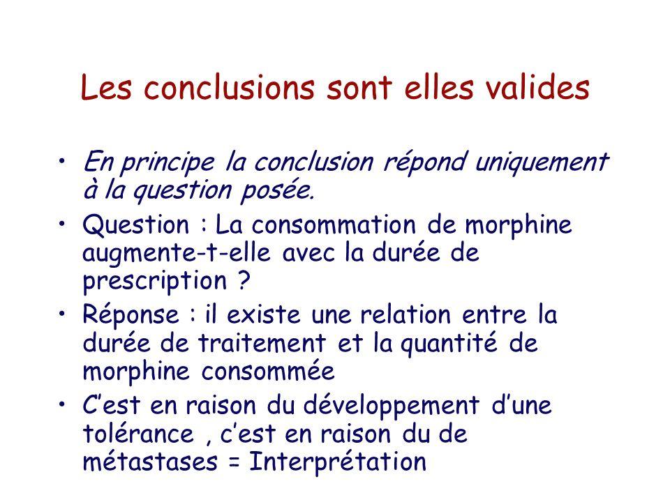 Les conclusions sont elles valides En principe la conclusion répond uniquement à la question posée. Question : La consommation de morphine augmente-t-