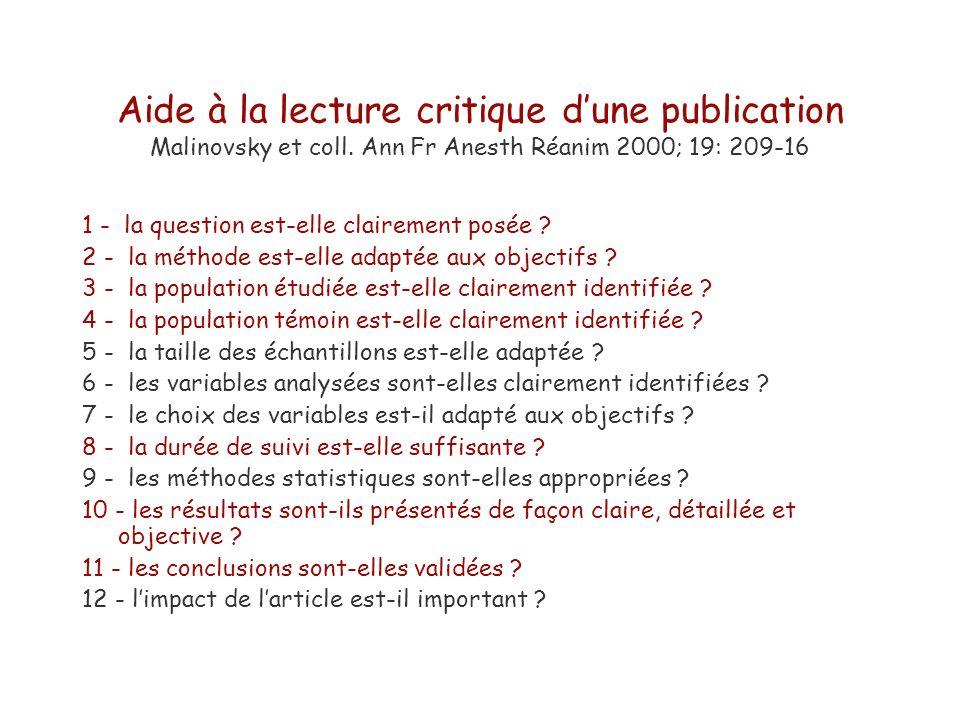 Aide à la lecture critique dune publication Malinovsky et coll. Ann Fr Anesth Réanim 2000; 19: 209-16 1 - la question est-elle clairement posée ? 2 -