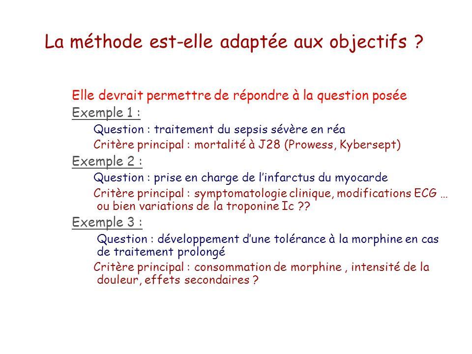 La méthode est-elle adaptée aux objectifs ? Elle devrait permettre de répondre à la question posée Exemple 1 : Question : traitement du sepsis sévère