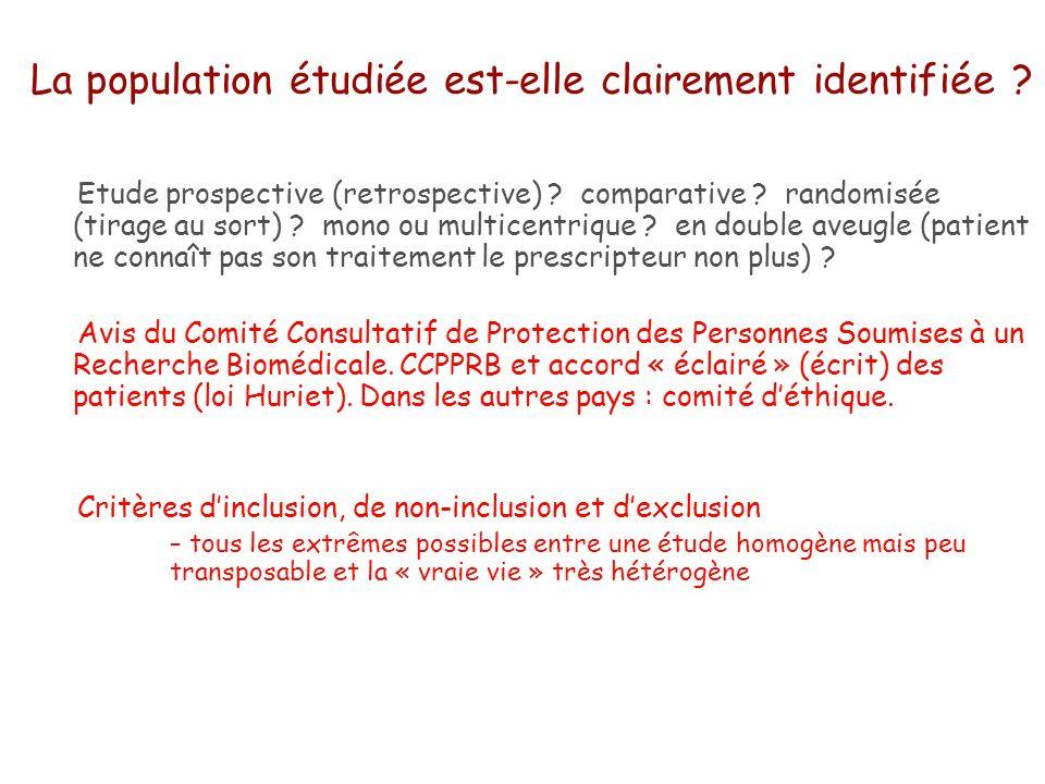 La population étudiée est-elle clairement identifiée ? Etude prospective (retrospective) ? comparative ? randomisée (tirage au sort) ? mono ou multice