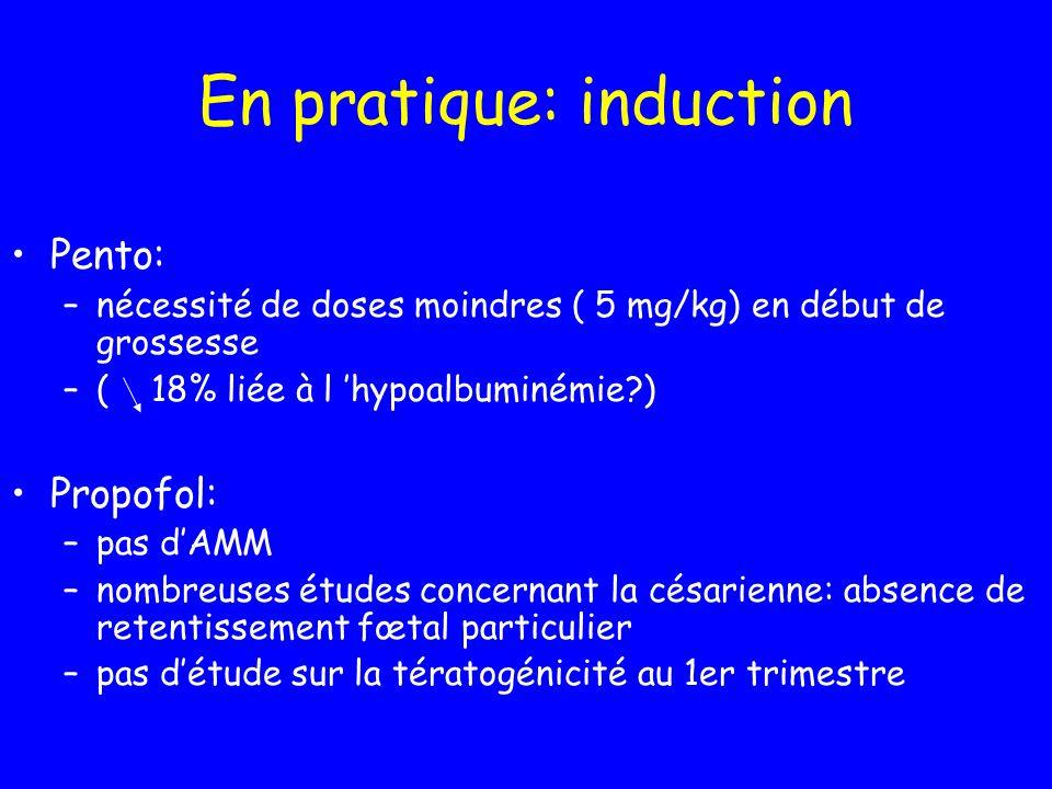 En pratique: induction Pento: –nécessité de doses moindres ( 5 mg/kg) en début de grossesse –( 18% liée à l hypoalbuminémie?) Propofol: –pas dAMM –nom