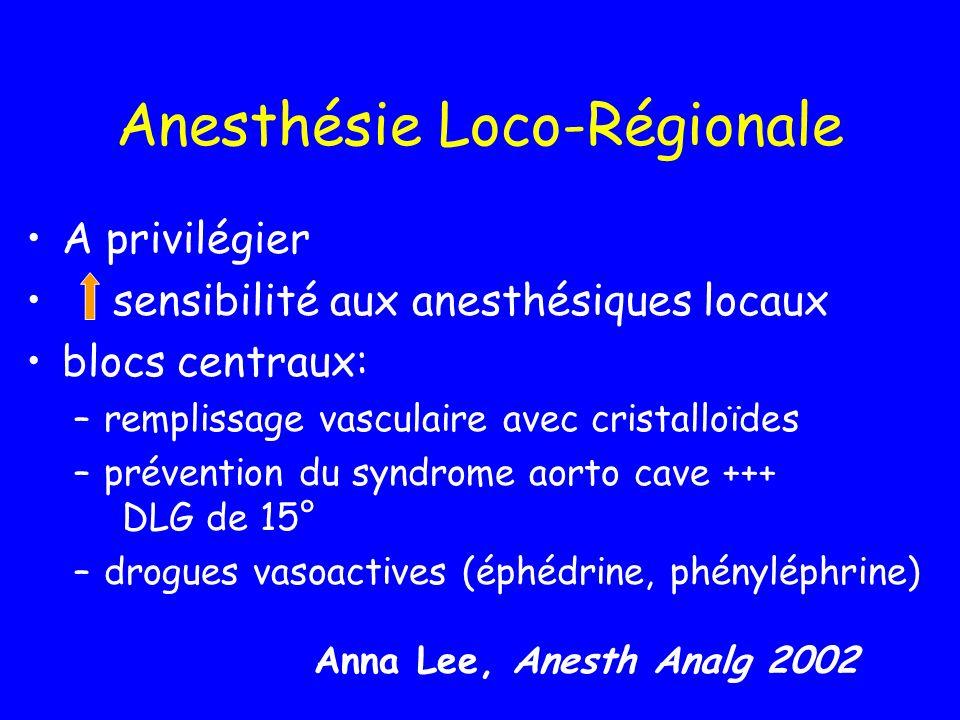 Anesthésie Loco-Régionale A privilégier sensibilité aux anesthésiques locaux blocs centraux: –remplissage vasculaire avec cristalloïdes –prévention du