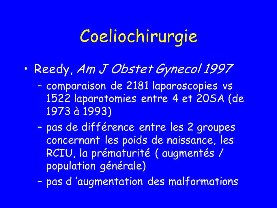 Coeliochirurgie Reedy, Am J Obstet Gynecol 1997 –comparaison de 2181 laparoscopies vs 1522 laparotomies entre 4 et 20SA (de 1973 à 1993) –pas de diffé