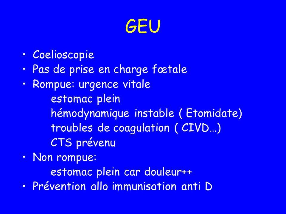 GEU Coelioscopie Pas de prise en charge fœtale Rompue: urgence vitale estomac plein hémodynamique instable ( Etomidate) troubles de coagulation ( CIVD