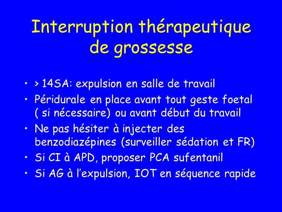 Interruption thérapeutique de grossesse > 14SA: expulsion en salle de travail Péridurale en place avant tout geste foetal ( si nécessaire) ou avant dé