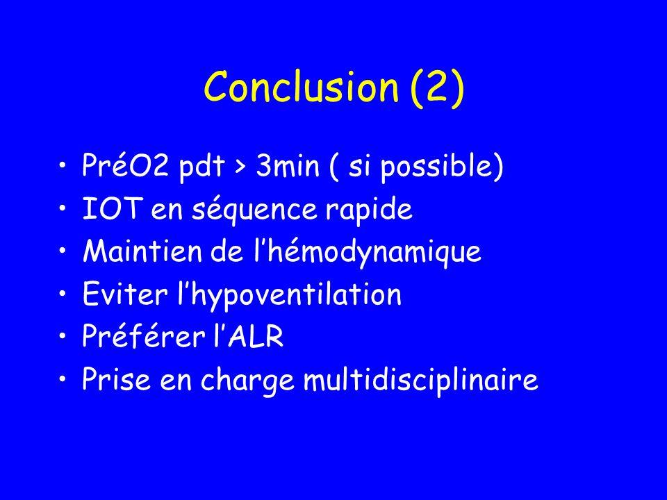 Conclusion (2) PréO2 pdt > 3min ( si possible) IOT en séquence rapide Maintien de lhémodynamique Eviter lhypoventilation Préférer lALR Prise en charge