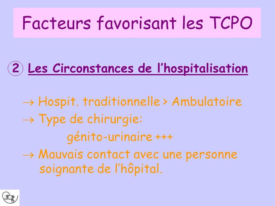 2 Les Circonstances de lhospitalisation Hospit. traditionnelle > Ambulatoire Type de chirurgie: génito-urinaire +++ Mauvais contact avec une personne