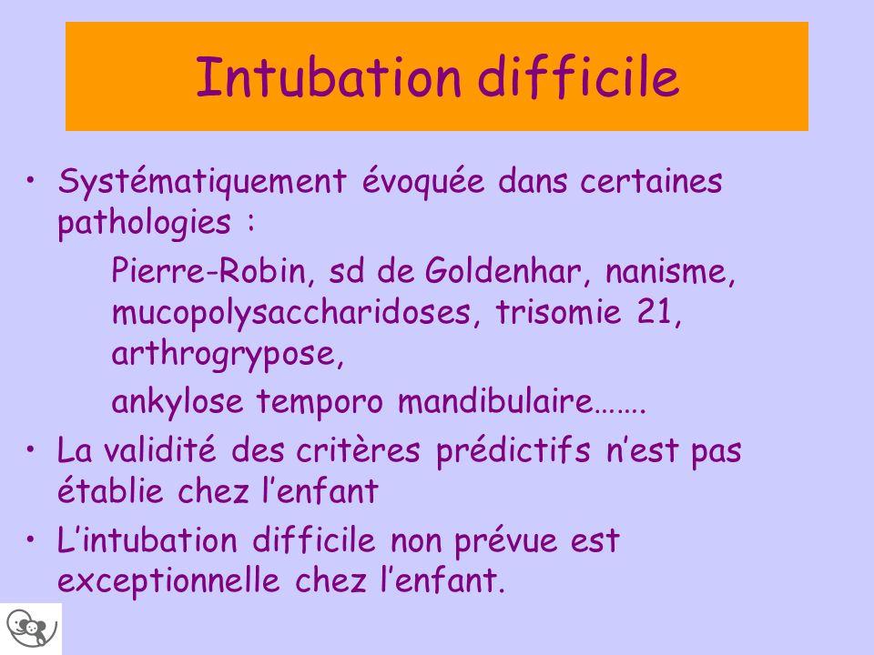 Intubation difficile Systématiquement évoquée dans certaines pathologies : Pierre-Robin, sd de Goldenhar, nanisme, mucopolysaccharidoses, trisomie 21,