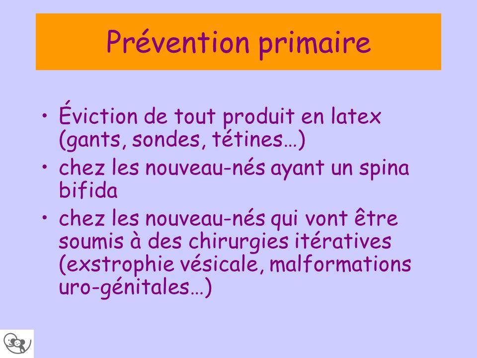 Prévention primaire Éviction de tout produit en latex (gants, sondes, tétines…) chez les nouveau-nés ayant un spina bifida chez les nouveau-nés qui vo