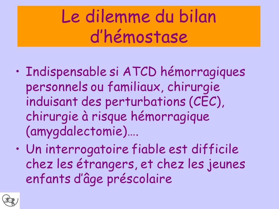 Le dilemme du bilan dhémostase Indispensable si ATCD hémorragiques personnels ou familiaux, chirurgie induisant des perturbations (CEC), chirurgie à r
