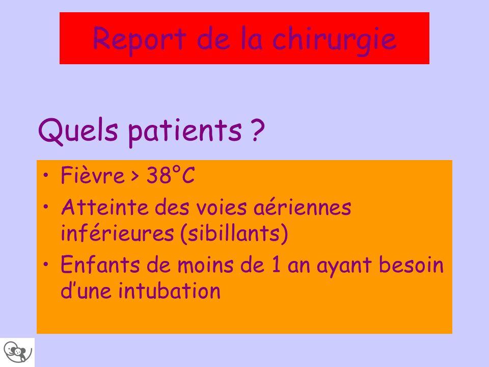 Quels patients ? Fièvre > 38°C Atteinte des voies aériennes inférieures (sibillants) Enfants de moins de 1 an ayant besoin dune intubation Report de l