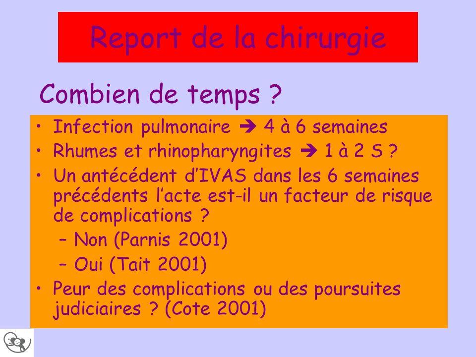 Combien de temps ? Infection pulmonaire 4 à 6 semaines Rhumes et rhinopharyngites 1 à 2 S ? Un antécédent dIVAS dans les 6 semaines précédents lacte e