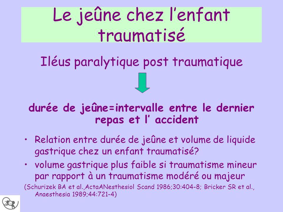 Le jeûne chez lenfant traumatisé durée de jeûne=intervalle entre le dernier repas et l accident Iléus paralytique post traumatique Relation entre duré