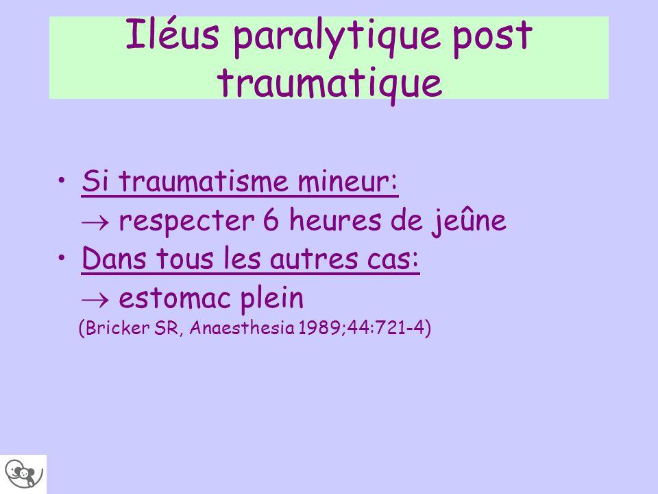 Iléus paralytique post traumatique Si traumatisme mineur: respecter 6 heures de jeûne Dans tous les autres cas: estomac plein (Bricker SR, Anaesthesia