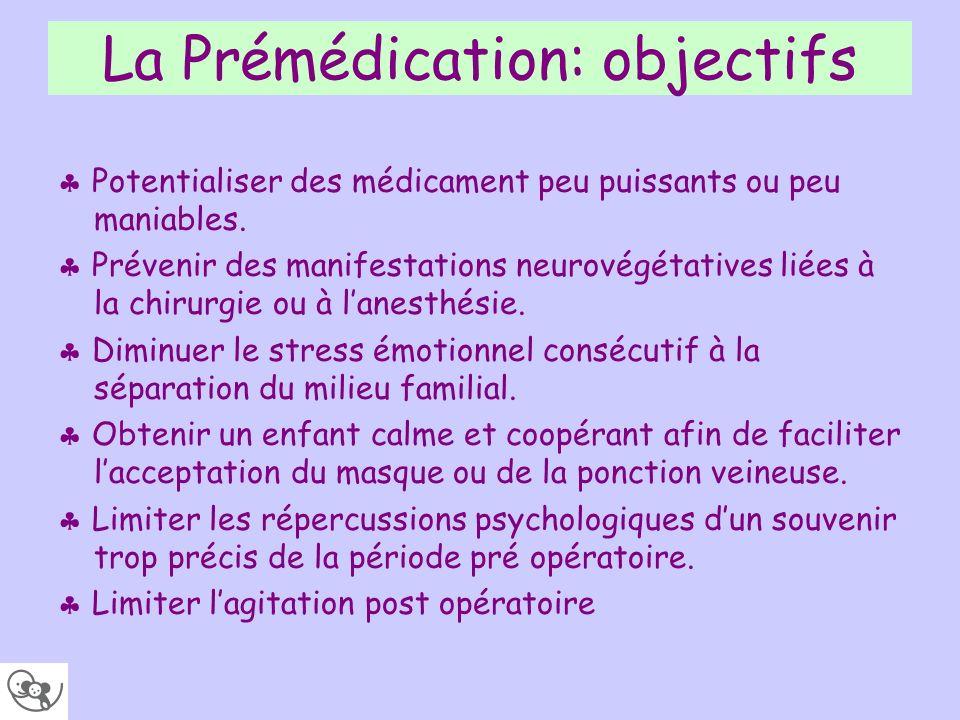 La Prémédication: objectifs Potentialiser des médicament peu puissants ou peu maniables. Prévenir des manifestations neurovégétatives liées à la chiru
