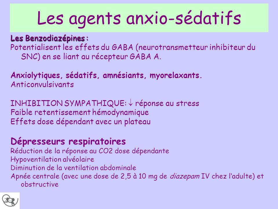 Les agents anxio-sédatifs Les Benzodiazépines : Potentialisent les effets du GABA (neurotransmetteur inhibiteur du SNC) en se liant au récepteur GABA