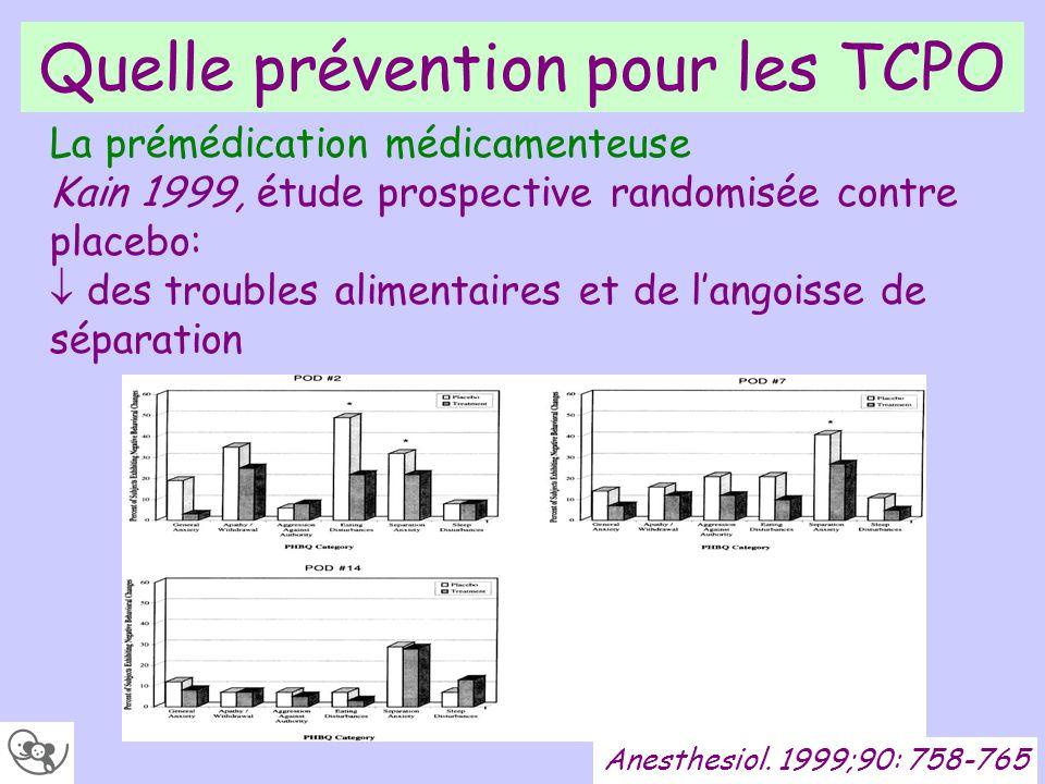 Quelle prévention pour les TCPO Anesthesiol. 1999;90: 758-765 La prémédication médicamenteuse Kain 1999, étude prospective randomisée contre placebo: