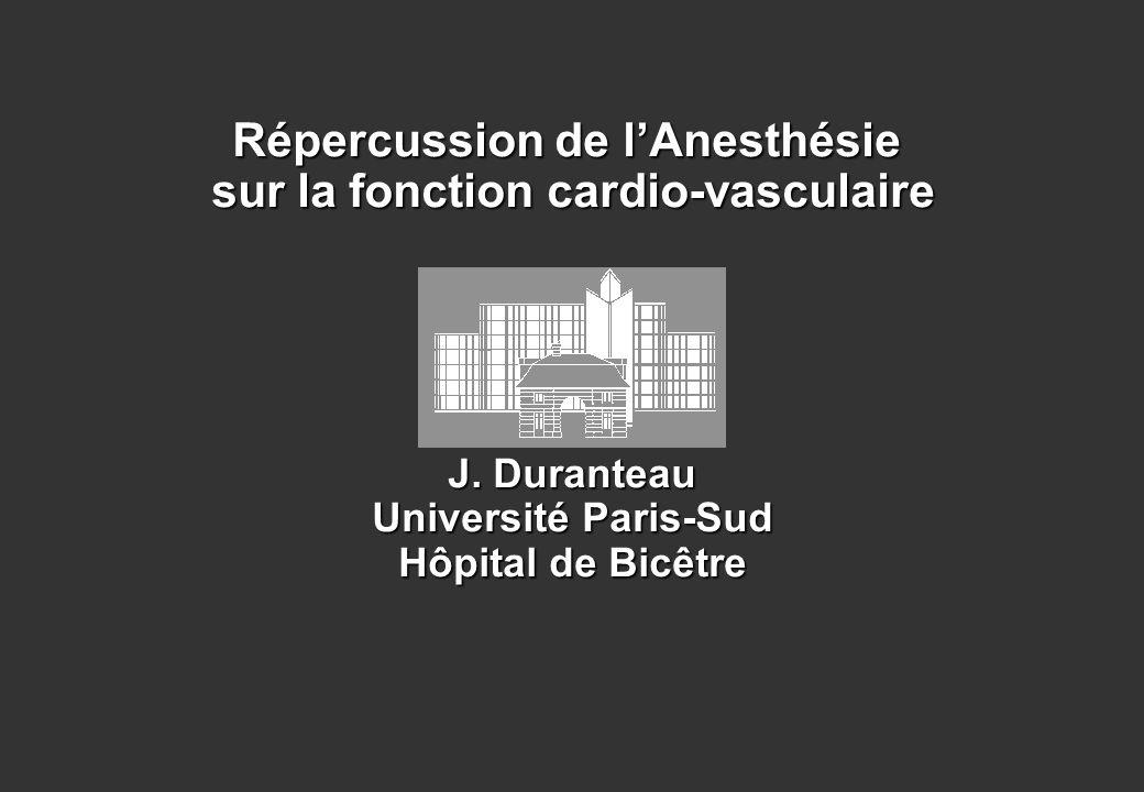 Répercussion de lAnesthésie sur la fonction cardio-vasculaire J. Duranteau Université Paris-Sud Hôpital de Bicêtre